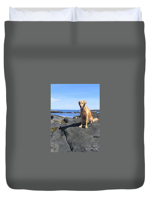 Golden Retriever Duvet Cover featuring the photograph Island Dog by Elizabeth Dow