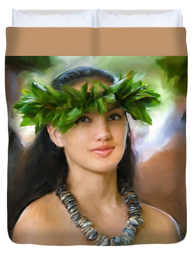 Island Girl Duvet Cover featuring the painting Island Girl by Dominic Piperata