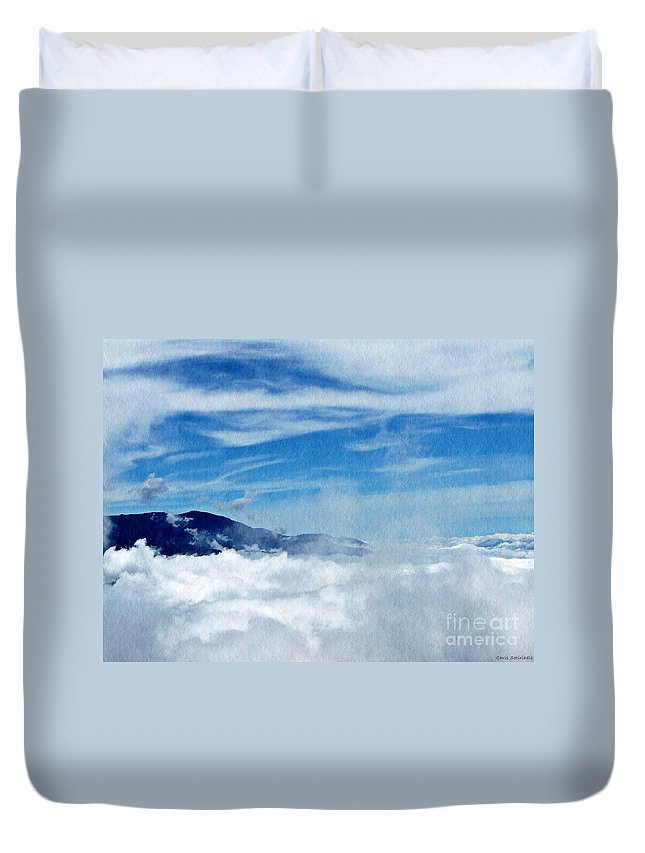 Mountain Duvet Cover featuring the photograph Island In The Clouds by Chris Sotiriadis