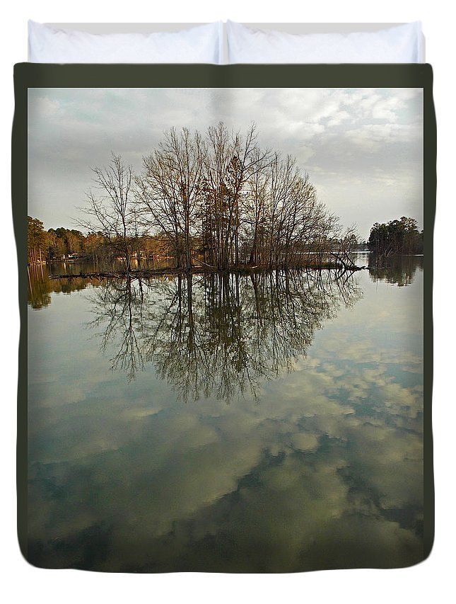 Sc Duvet Cover featuring the photograph Island In The Clouds by Skip Willits
