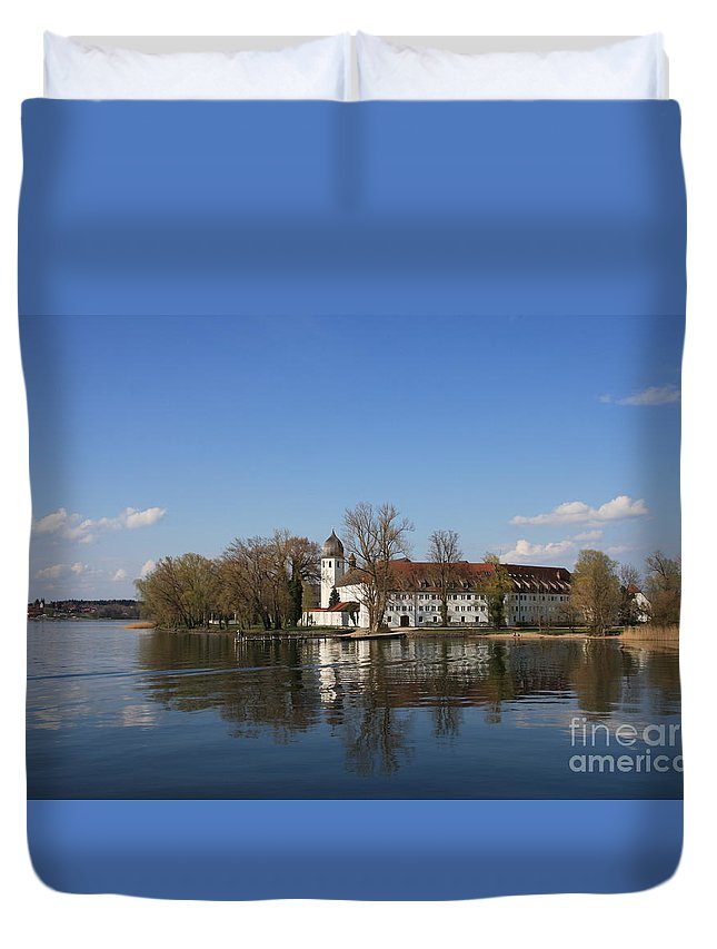 Island Duvet Cover featuring the photograph Island In The Lake by Christiane Schulze Art And Photography