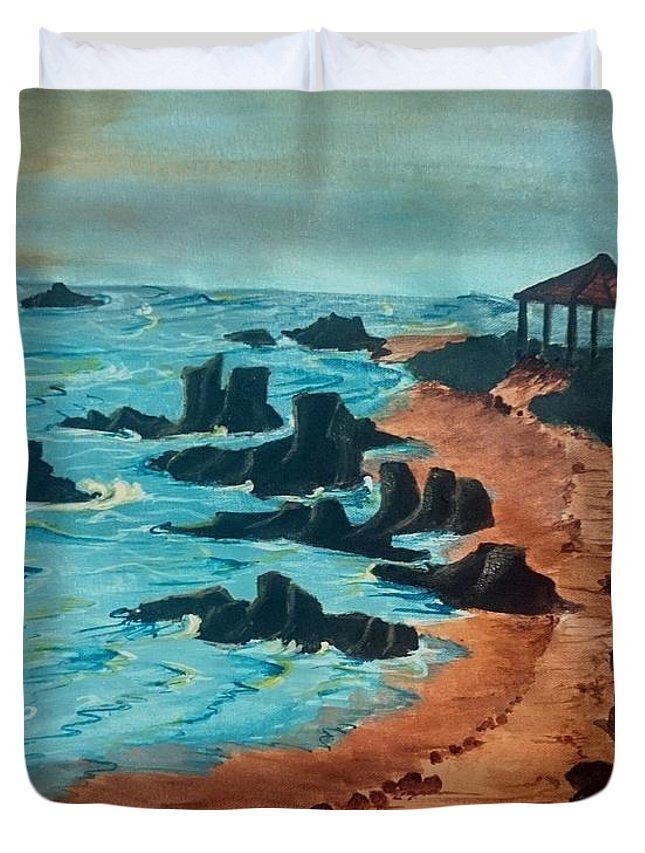 Island Duvet Cover featuring the painting Island Of Dreams by KarishmaticArt -Karishma Desai