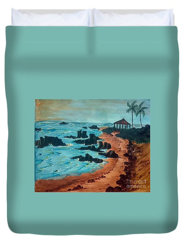 Island Duvet Cover featuring the painting Island Of Dreams by KarishmaticArt By Karishma Desai