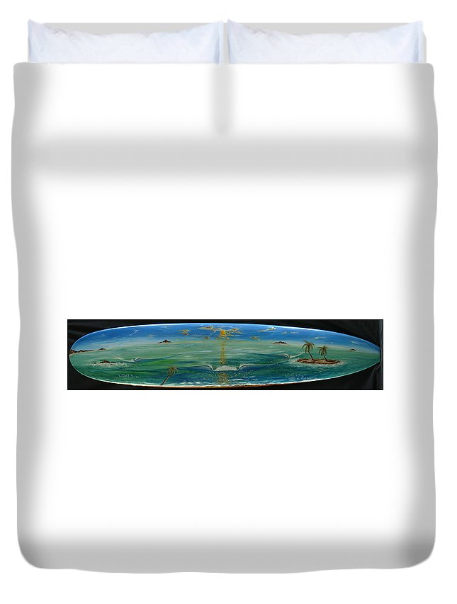 Islandsurfdreams Duvet Cover featuring the painting Island Surf Dreams by Paul Carter