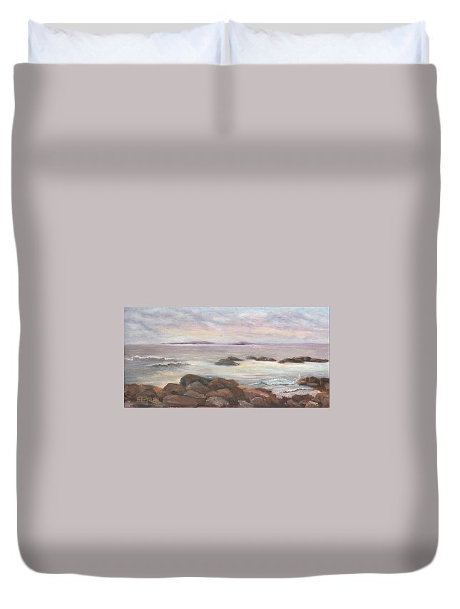 Isles Of Shoals Duvet Cover featuring the painting Isles of Shoals from Odiorne Point by Sharon E Allen