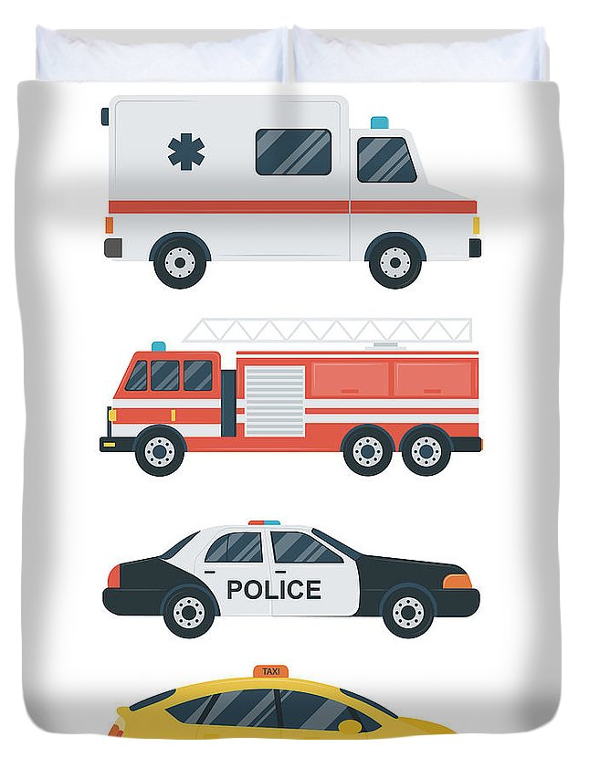 Ambulance Duvet Cover featuring the digital art Isolated Transport Icons. Police Car by Switchpipipi
