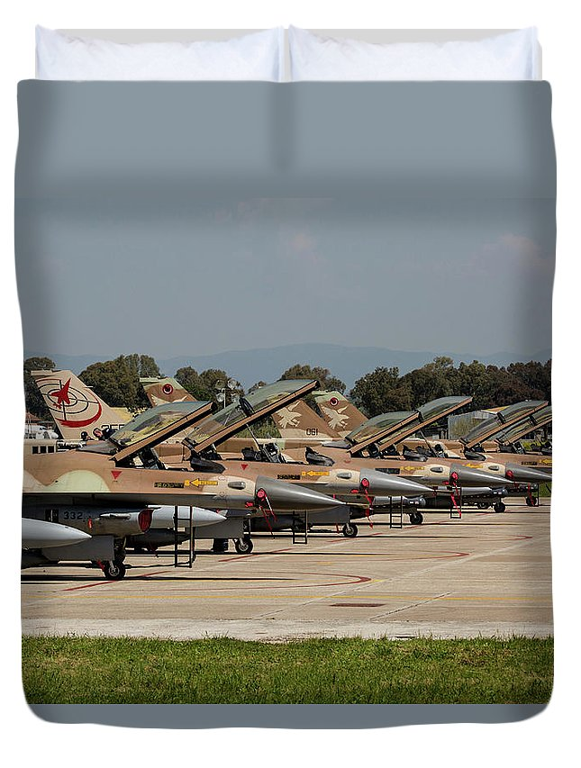 Greece Duvet Cover featuring the photograph Israeli Air Force F-16`s Of Three by Timm Ziegenthaler