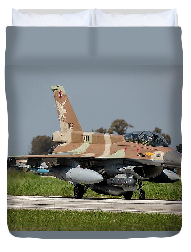 Greece Duvet Cover featuring the photograph Israeli Air Forcee F-16i Sufa by Timm Ziegenthaler