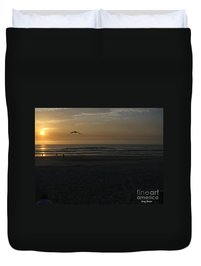 Florida Sunrise Duvet Cover featuring the photograph It Starts by Greg Patzer