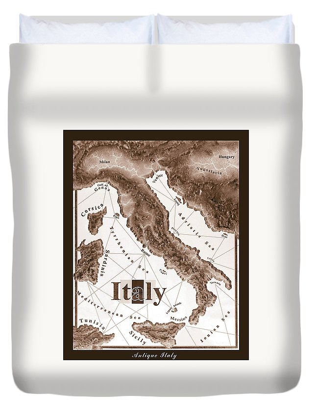 Italian Duvet Cover featuring the mixed media Italian Map by Curtiss Shaffer