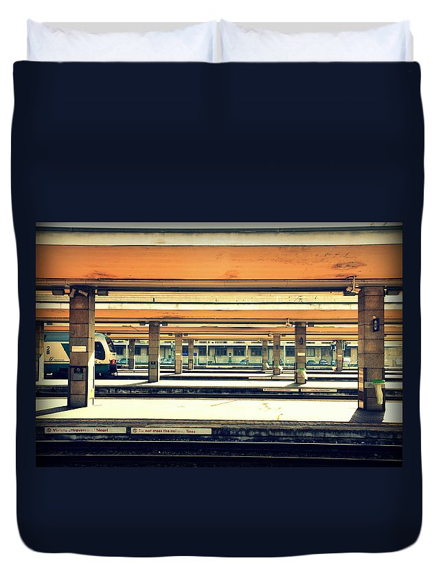 Italy Duvet Cover featuring the photograph Italian Train Station by Valentino Visentini