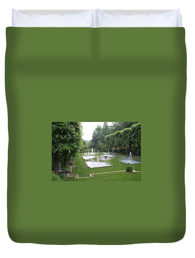 Fountain Duvet Cover featuring the photograph Italian Water Garden by Barbara McDevitt