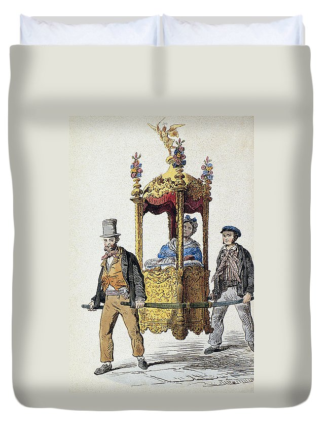 19th Century Duvet Cover featuring the painting Italy Sedan Chair by Granger