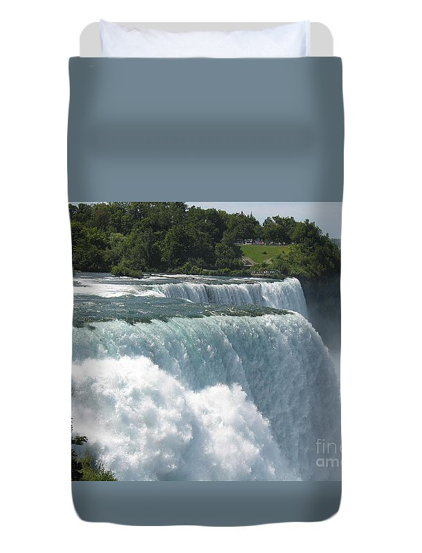 Waterfalls Duvet Cover featuring the photograph It's A Long Way Down by Jeffery L Bowers