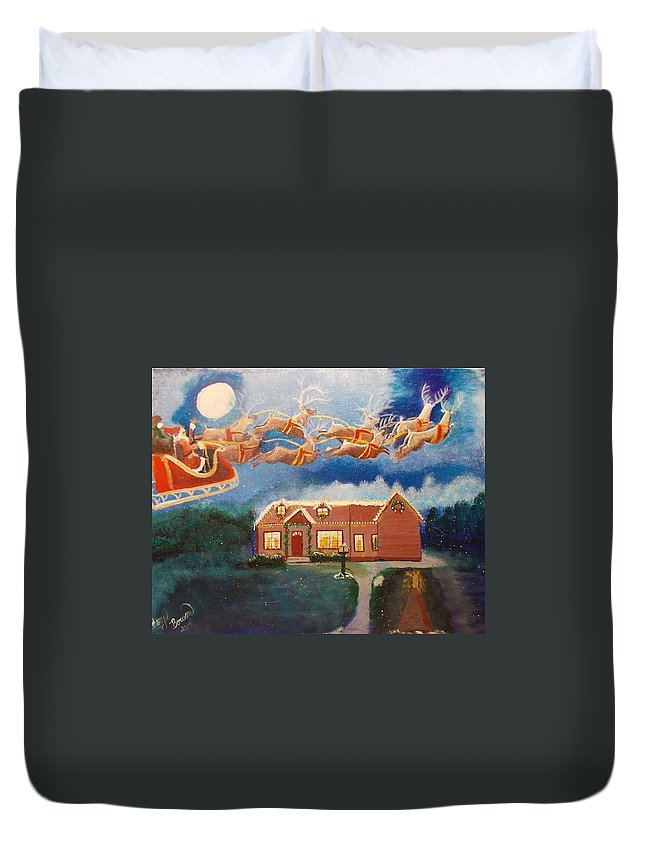 Santa Duvet Cover featuring the painting It's Christmas Time by Cheryl Bowen-Hance