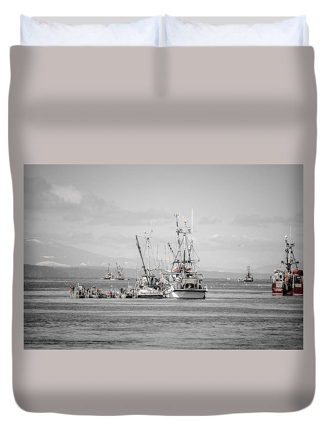 Seagulls Duvet Cover featuring the photograph It's Go Time Herring Season by Roxy Hurtubise