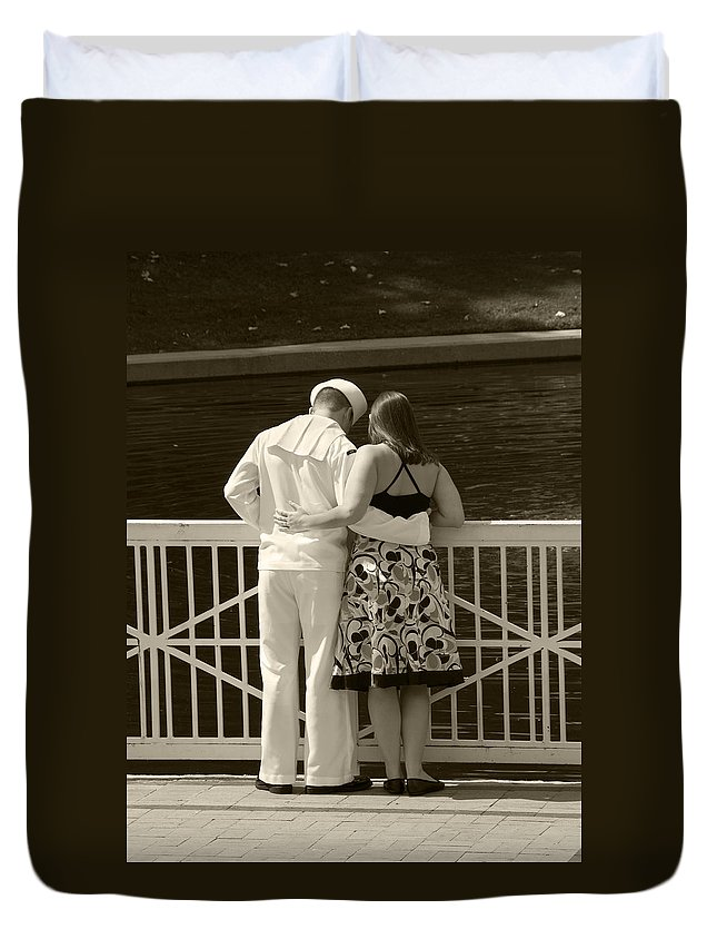 Sailor Duvet Cover featuring the photograph It's Not Good Bye by Charles Beeler