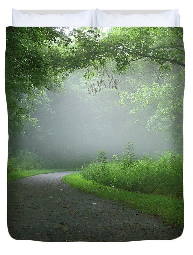 Green Duvet Cover featuring the photograph Mystery Walk by Douglas Stucky