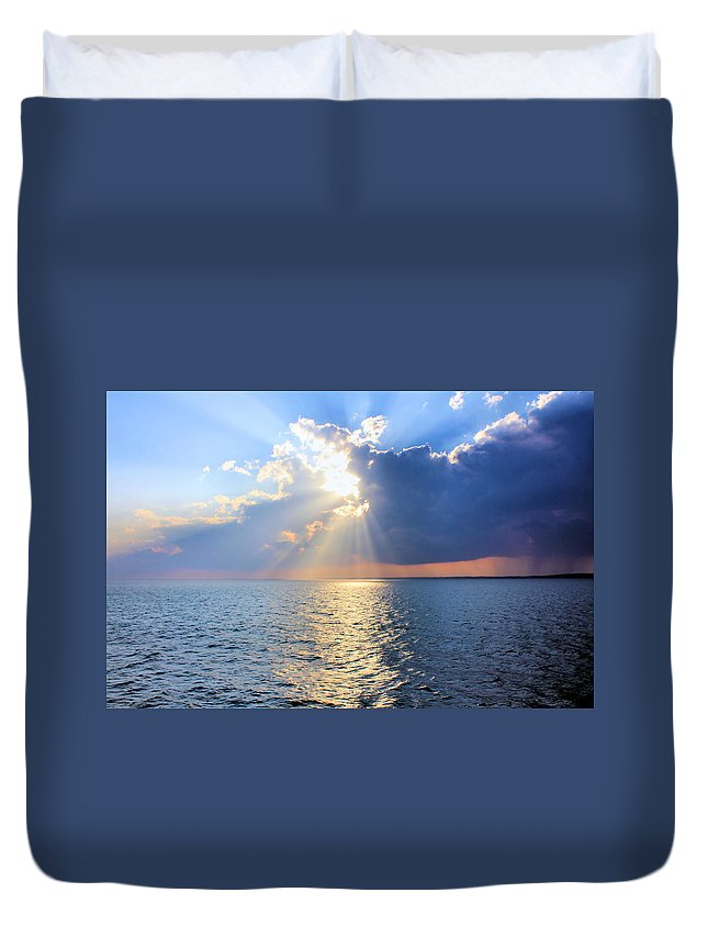 Sunset Duvet Cover featuring the photograph It's Raining Somewhere by Kristin Elmquist
