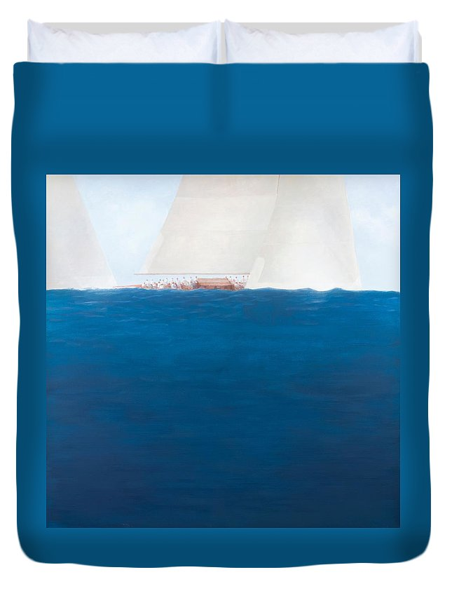 Yacht; Yachts; Sea; Boat; Boating; J-class; Sail; Sailing; Sails; Solent; The Solent; Boat Duvet Cover featuring the painting J Class Racing The Solent 2012 by Lincoln Seligman