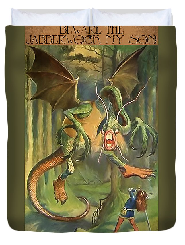 Beware Duvet Cover featuring the mixed media Jabberwock by John K Woodruff