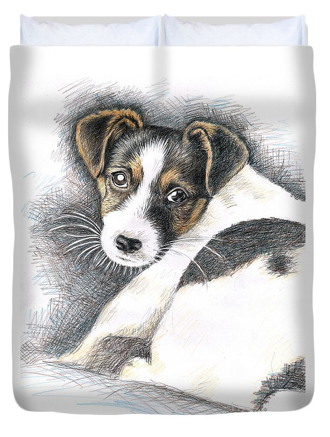 Dog Duvet Cover featuring the drawing Jack Russell Puppy by Nicole Zeug