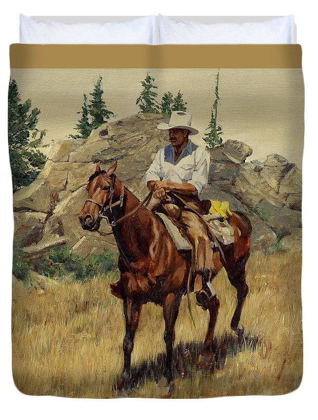 Jackson Hole Duvet Cover featuring the painting Jackson Hole George On His Horse by Don Langeneckert