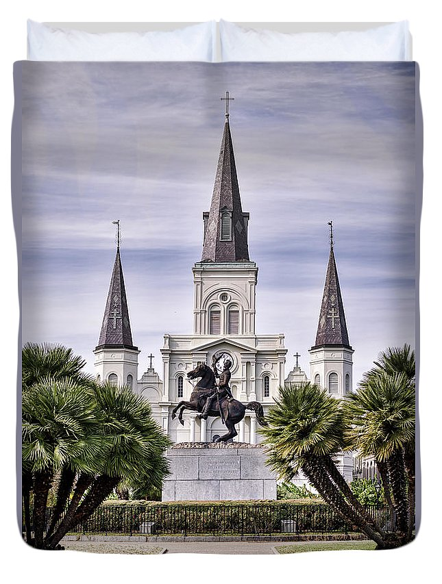 Saint Louis Cathedral Duvet Cover featuring the photograph Jackson Square by Heather Applegate