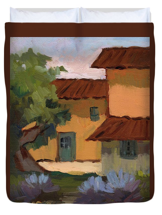 Jacques Duvet Cover featuring the painting Jacques Farm In Provence by Diane McClary