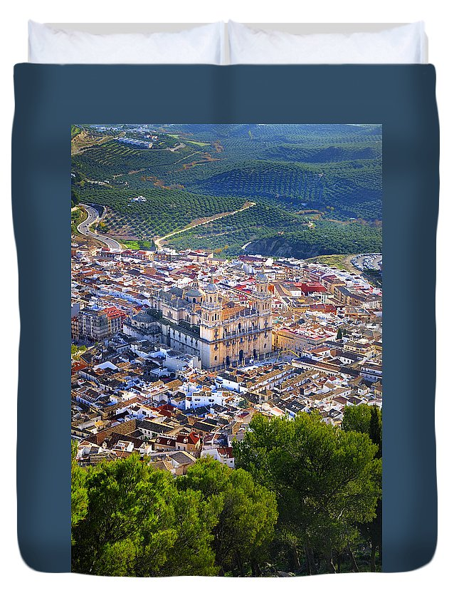 Aerial Duvet Cover featuring the photograph Jaen Cathedral by Guido Montanes Castillo