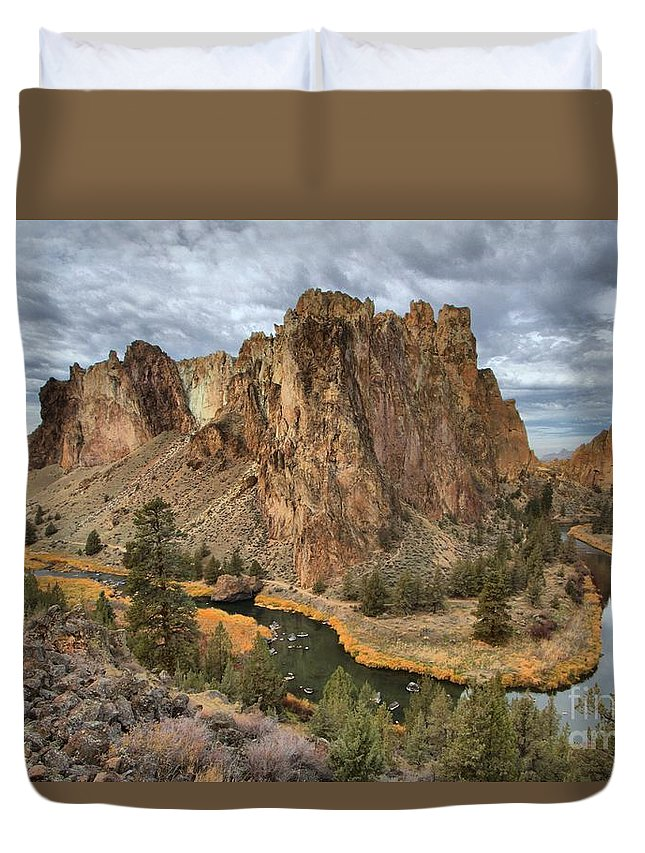 Smith Rock Duvet Cover featuring the photograph Jagged Peaks And River Reflections by Adam Jewell