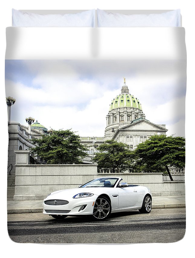 Jaguar Duvet Cover featuring the photograph Jaguar Xk And The Capitol Building by Jean Macaluso