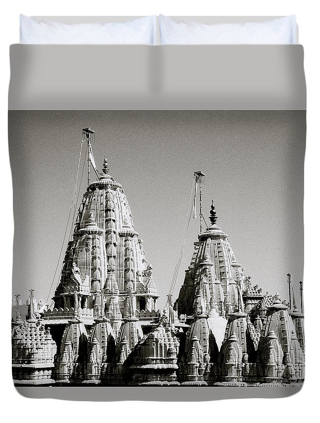 India Duvet Cover featuring the photograph Jain Temple Towers by Shaun Higson