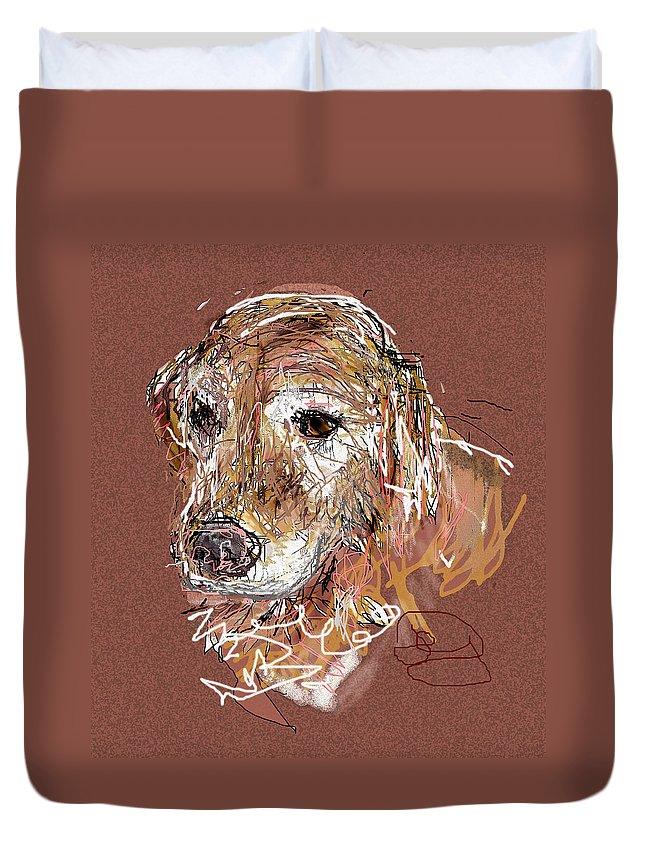 Dog Duvet Cover featuring the digital art Jake Boy by Joyce Goldin