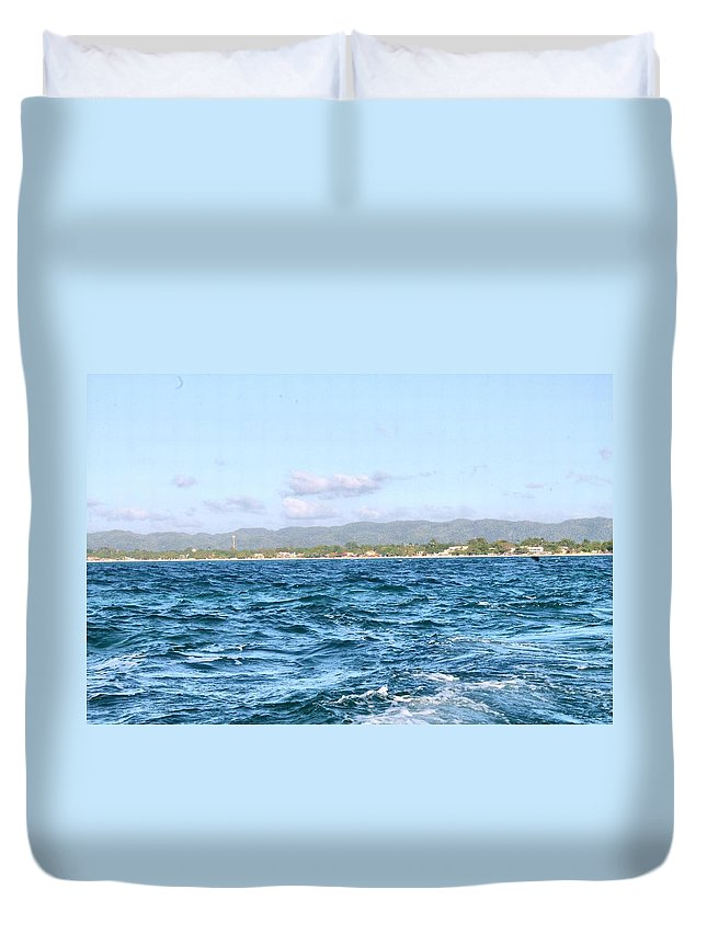 Jamaica Duvet Cover featuring the photograph Jamaica At A Distance by Debbie Levene