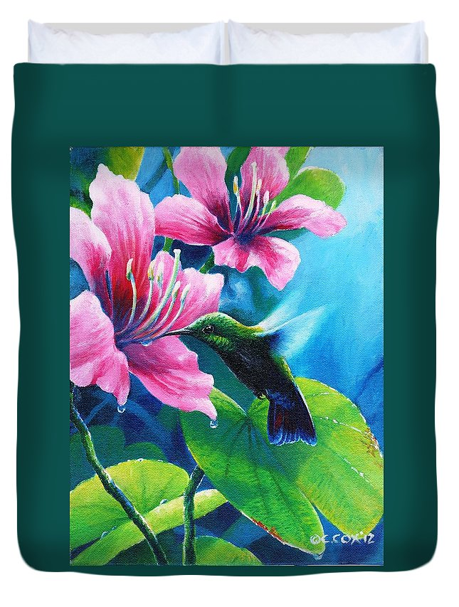 Chris Cox Duvet Cover featuring the painting Antillean Mango by Christopher Cox