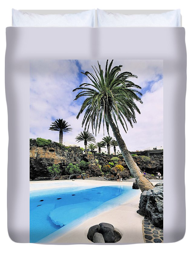 Blue Duvet Cover featuring the photograph Jameos Del Agua On Lanzarote by Karol Kozlowski