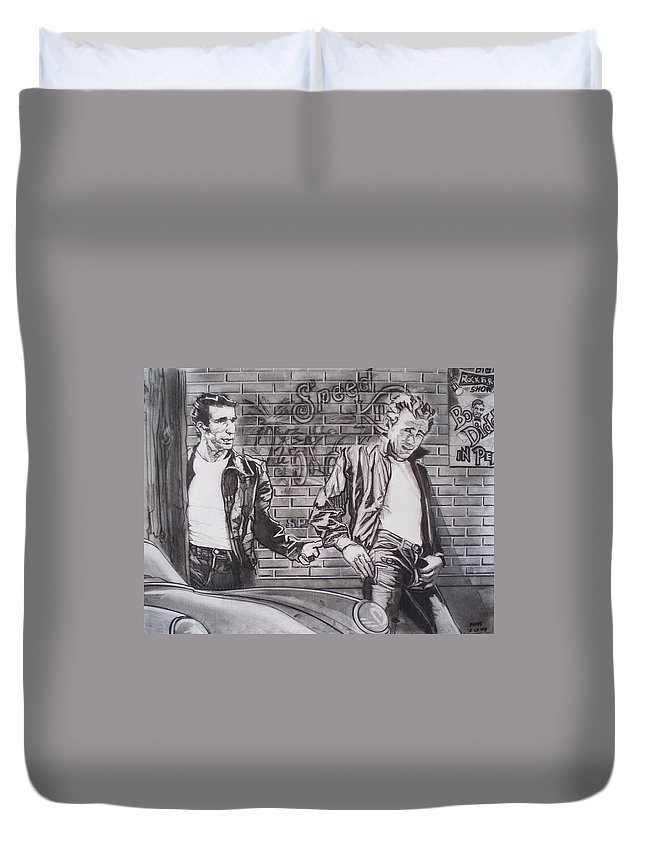 Americana Duvet Cover featuring the drawing James Dean Meets The Fonz by Sean Connolly