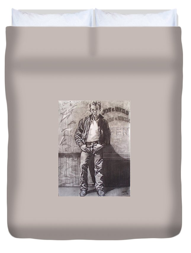 Charcoal; Icon;americana;cool;window;sidewalk;street;rock And Roll;jeans;t-shirt;diner;movie Star Duvet Cover featuring the drawing James Dean by Sean Connolly