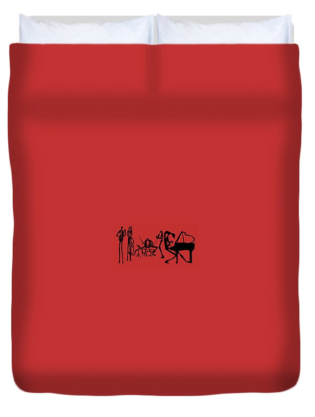Jazz Duvet Cover featuring the digital art Jammin Jazz On Red by Rhodes Rumsey