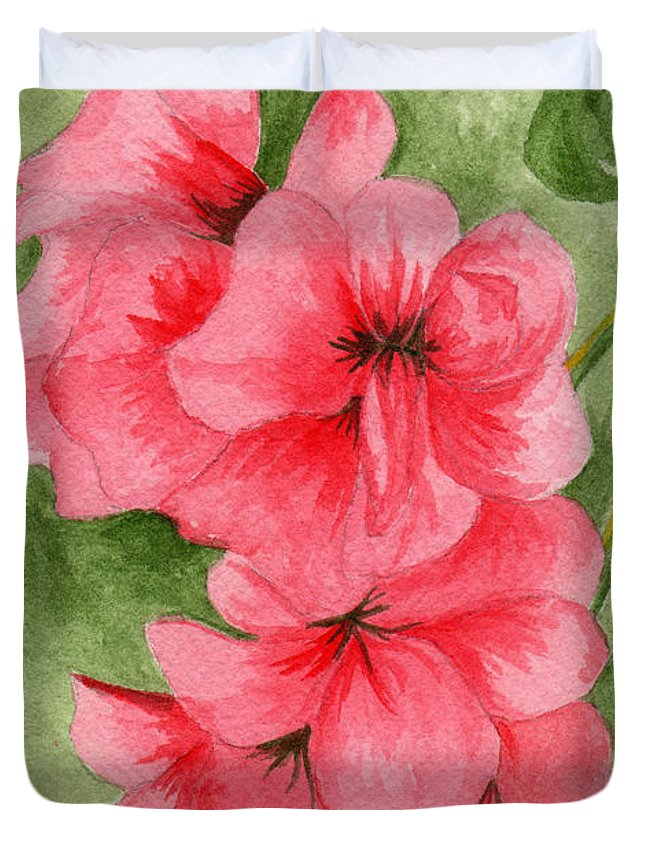 Flower Duvet Cover featuring the painting Jane's Flowers by Judith Rice