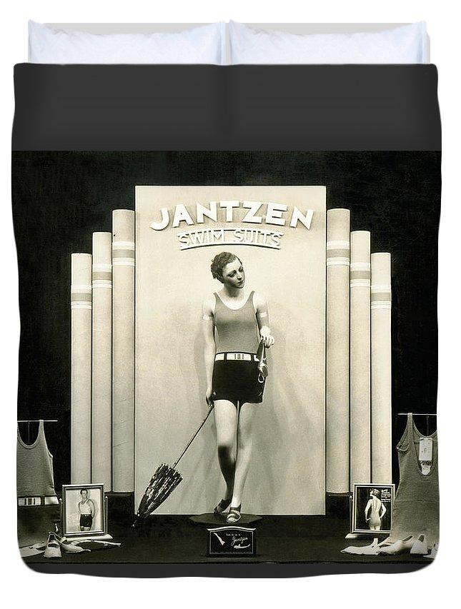1920s Duvet Cover featuring the photograph Jantzen Swim Suit Display by Underwood Archives