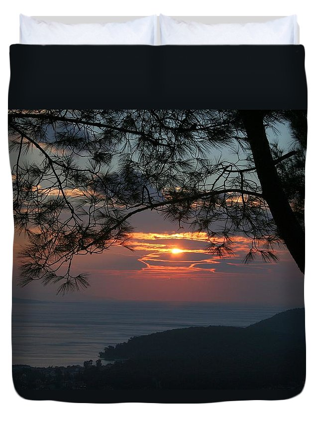 Sunset Duvet Cover featuring the photograph January Sunset Akyaka by Tracey Harrington-Simpson