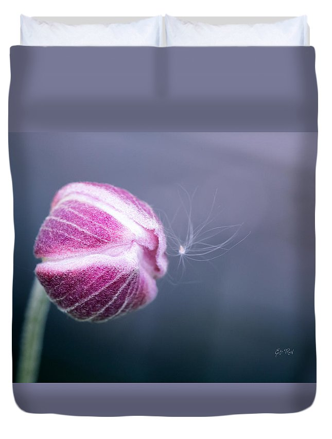 Pistil Duvet Cover featuring the photograph Japanese Anemone Bud by Eti Reid