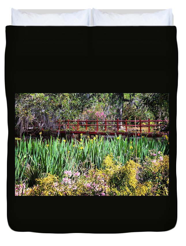 Bridge Duvet Cover featuring the photograph Japanese Garden by Lynne Jenkins