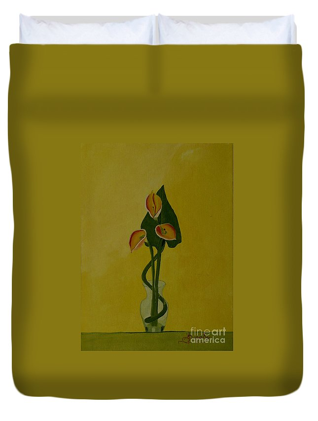 Japan Duvet Cover featuring the painting Japanese Ikebana Arrangement by Anthony Dunphy