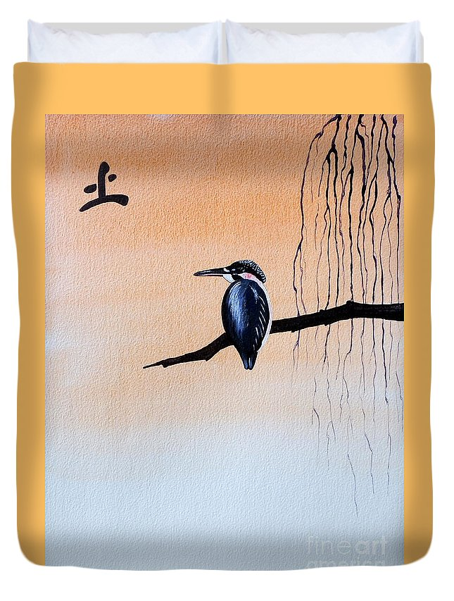 Tattoo .japanese Duvet Cover featuring the painting Japanese Kawasemi Kingfisher Feng Shui Earth by Gordon Lavender