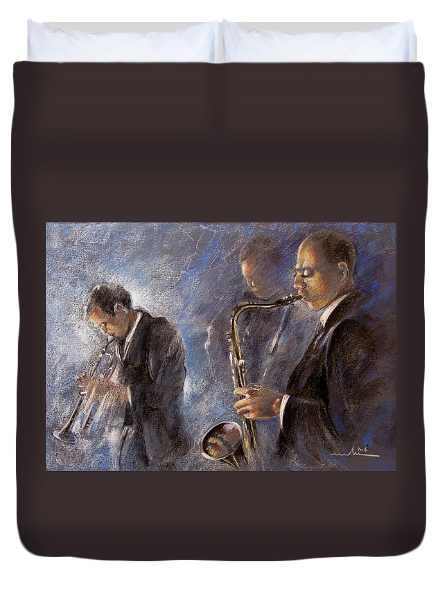 Jazz Duvet Cover featuring the painting Jazz 01 by Miki De Goodaboom