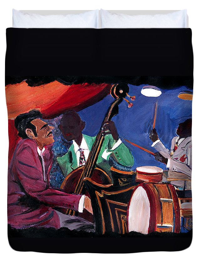 Music Duvet Cover featuring the painting Jazz Band by Harold Ellison