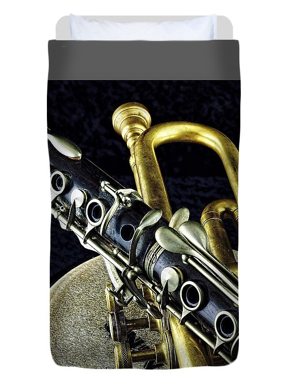 Music Duvet Cover featuring the photograph Jazz by Elf Evans